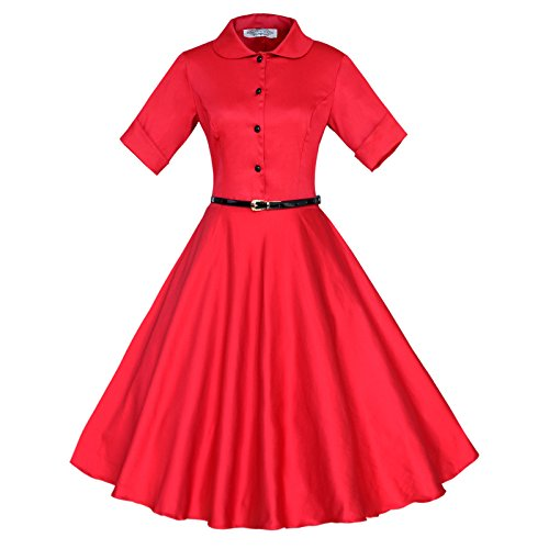 3/4 Années 1950 Manches Rockabilly Rouge Robe Vintage Maggie Femmes Tang