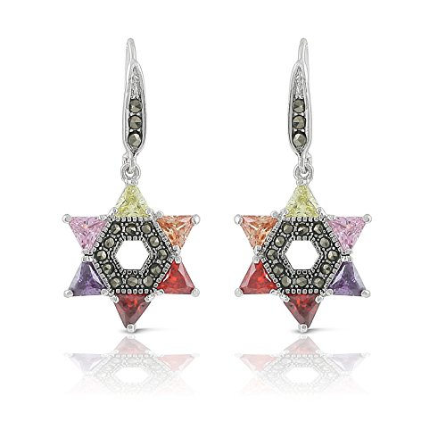 Jewelry Jewish Star (JanKuo Jewelry Rhodium Plated Multicolor Cubic Zirconia Jewish Star of David Marcasite Earrings)