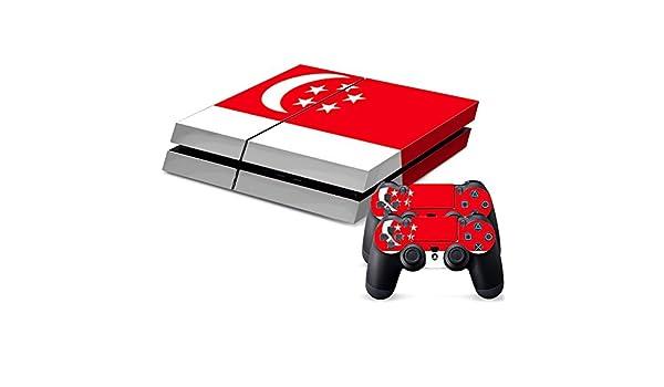 Bandera de Singapur patrón bandera/Diseño Protector de pantalla para PlayStation 4 Consola (para ambos lados + Bordes/Full Body) y controlador para 2/Pegatinas, Skin para PS4 consola de juegos: Amazon.es: Electrónica