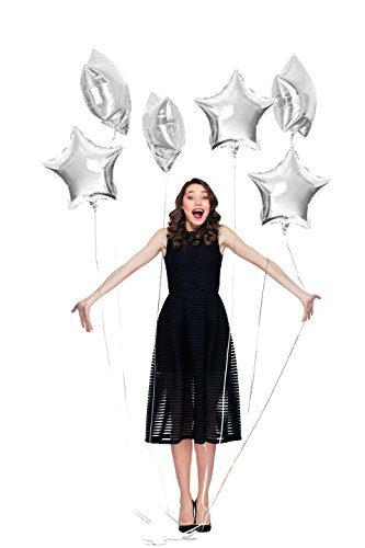 Treasures Gifted Silver Foil Mylar Star Balloon Glitter Shaped Balloon Pack of 6 for Baby Shower Gender Reveal Wedding Anniversary Engagement Party Supplies Christmas Gift Shaped Mylar Balloon