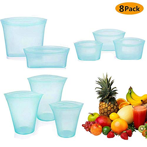 8Pcs Reusable Silicone Food Storage Bag, Zip Lock Top Leakproof Containers Stand Up Stay Open Zip Shut Portable Convenient Snack Fruit Dish Bag Cup, Microwave Oven & Freezer Bags - Complete Set Blue