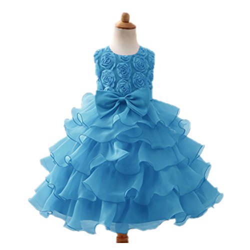 Price comparison product image ED Girl Dress Kids Sleeveless Ruffles Lace Bowknot Party Wedding Dresses Blue 8T/140CM
