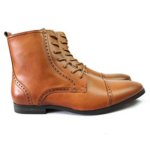 Nouveaux Hommes Toe Bottes Orteil Détaillées Perforation Robe Chaussures Modernes Oxfords Par Azar Marron