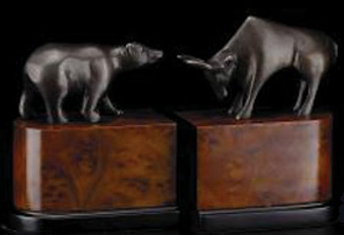 Bey-Berk R18M Cast Metal with Bronzed Finished Bull & Bear Bookends on a Burl and Black Wood Base,