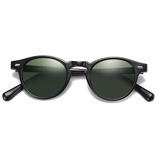 Vintage Sunglasses for Mens womens Classic Keyhole Retro Round Sunglasses UV400 Acetate Frame ()
