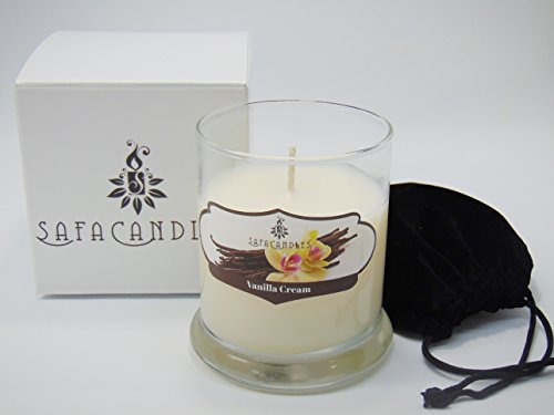 Safa Candles Vanilla Cream Candle - 7 Oz. Highly Scented White Jar Candle - Vanilla Cream (Cream Highly Scented Jar Candles)