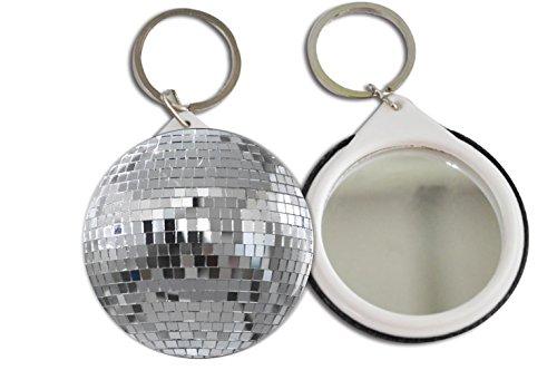 Silver Mirrored Disco Ball Design 2.25 inch Keychain Button Mirror Key -