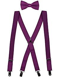 Men's Clip on Suspenders and Bow Tie Set Adjustable X Back