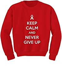 Keep Calm & Never Give Up Breast Cancer Awareness Youth Kids Sweatshirt