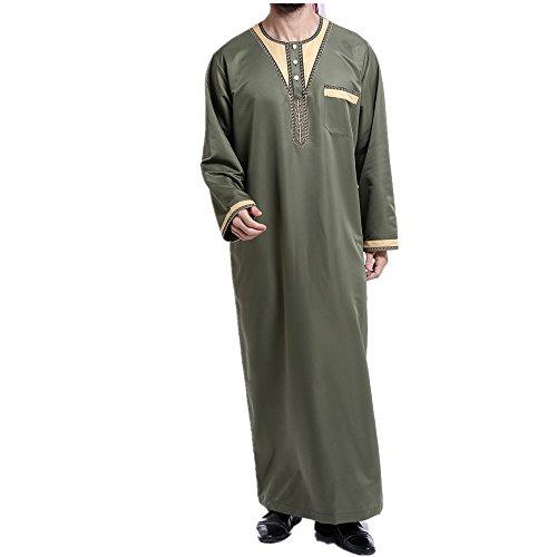 zhxinashu Muslim Clothing for Men Thobe Arabic Islamic Mens Dress,Green,XXXL