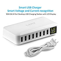 iLepo 8- Port USB ChargerCharging Station for Multiple Device with LED Display Desktop Wall Charger For Laptops, Tablets, and Phones (8-Port USB Charger)