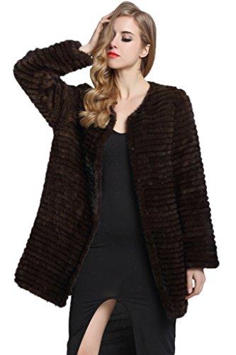 TOPFUR Women's Kintted Outcoat Mink Fur Coat Outwear Winter Overcoat(US 20) by TOPFUR