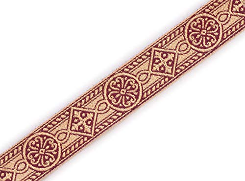 "1"" Wide Burgundy Gold Jacquard Chasuble Medieval Church Vestment Trim 5 Yds DIY"