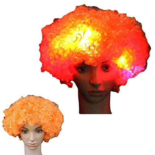 LACGO LED Flash Explosion Wig-Clown Wig, Beautiful Afro Wig ,Fancy Dress Parties Wig, Cosplay Wig ,Men & Women 's Hair Wig LED Flash Explosion Hair Heat Resistant for Cosplay(Orange)(Pack of -