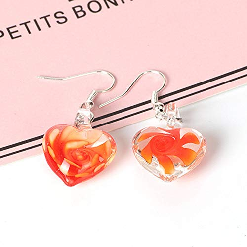 EDSPXM Earrings Murano Inspiration Fashion Spiral Flower Glass Love Earrings Earrings, Orange