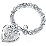 BESTPICKS 925 Sterling Silver Photo Locket Bracelet Gift for Women