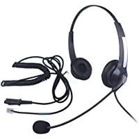 Audicom Binaural Call Center Headset Headphone with Mic and Quick Disconnect for Cisco Unified Telephone IP Phones 7931G 7940 7941 7942 7945 7960 and Plantronics M10 Vista Modular Adapters (301QDRJ2B)