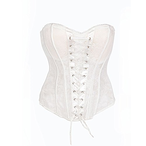 FeelinGirl Women's Strips Lace Up Front Overbust Corset Size XXL