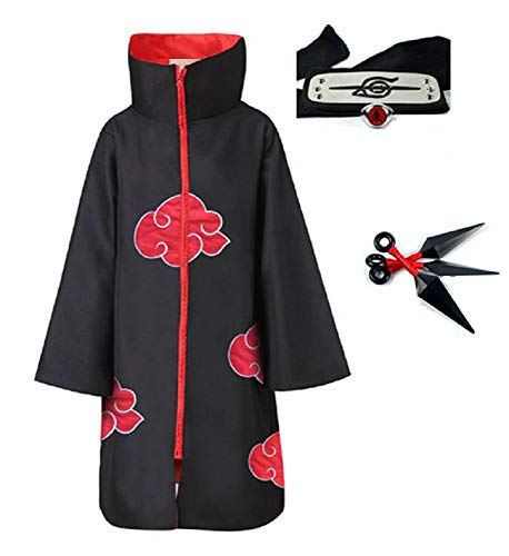 4pcs, Unisex, Akatsuki, Cosplay, Costume, Halloween, Cloak, Headband, Ring, Itachi, Uniform, Naruto Fans (Small) Red/Black