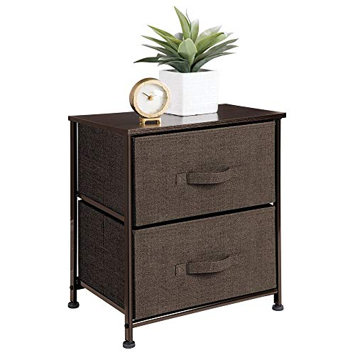 (mDesign Short Vertical Dresser Storage Tower - Sturdy Steel Frame, Wood Top, Easy Pull Fabric Bins - Organizer Unit for Bedroom, Hallway, Entryway, Closets - Textured Print, 2 Drawers - Espresso Brown)