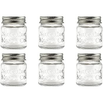 smiths mini mason jar set of 6 chupito shot glasses with lids 2oz per shot. Black Bedroom Furniture Sets. Home Design Ideas