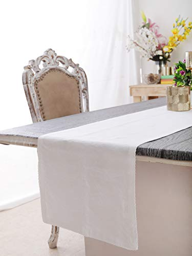 """Table Runner, Solid White, 55% Cotton, 45% Linen, Eco Friendly, Size: 14""""X72"""" Perfect For Kitchen Gifts, Christmas & Holiday Season"""