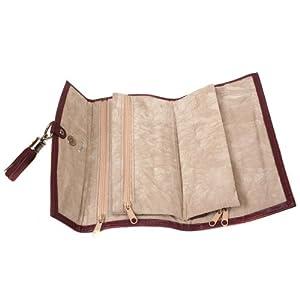Paylak TS10774BUR Plum Leather Jewelry Travel Bag with Silver Tassel Closure