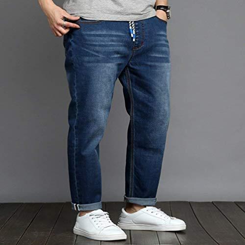 Con Dunkelblau Jeans In Vintage Tessuto Base Moda Da Ragazzi Tasca Dritti Normale Pantaloni Denim Alla Uomo Classiche Casual 1qTttw