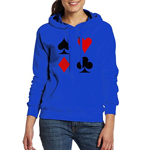Chester MacAdam Women's Playing Card Suits Long Sleeve Pullover Hooded Sweatshirt Royalblue Size - Kingdom Seattle Card