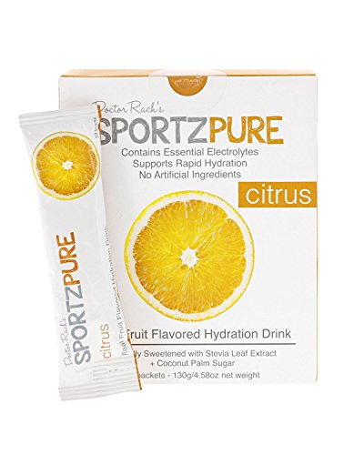 SportzPure Citrus Real Fruit Flavored Hydration Drink Naturally Sweetened with Stevia Leaf Extract + Coconut Water Powder
