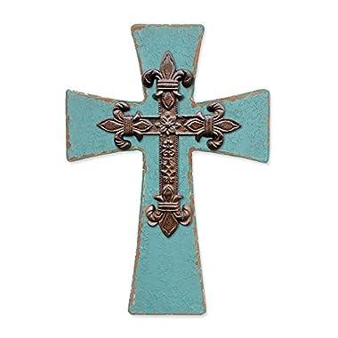 Enesco Gregg Gift Where The Heart is Teal and Iron Cross Walldecor, 9.92
