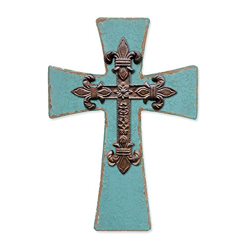 Enesco Where the Heart Is by Gregg Gift Teal and Faux Iron Cross Stone Resin Wall Décor, (Teal Heart)