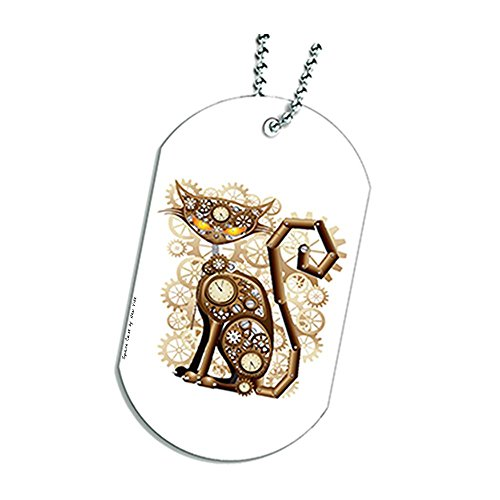 Steampunk Kitty Cat Dog Tag Necklace