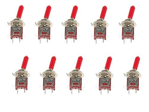 10 SPST ON/OFF Subminiature Toggle Switch Mini with Red handle