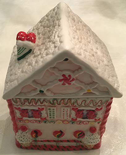 Retro ICE CREAM TREATS GINGERBREAD CANDY CANE CHRISTMAS HOUSE COTTAGE COOKIE JAR