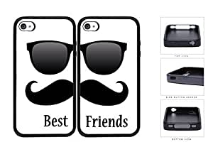 Best Friends Black Mustache Sunglasses Rubber Silicone TPU Cell Phone Case Apple iPhone 4 4s