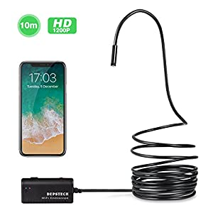 Wireless Endoscope, Depstech WiFi Borescope Inspection Camera 2.0 Megapixels HD Snake Camera for Android and IOS Smartphone, iPhone, Samsung, Tablet - Black(33FT)
