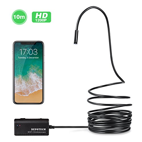 Wireless Endoscope, Depstech WiFi Borescope Inspection Camera 2.0 Megapixels HD Snake Camera for Android and IOS Smartphone, iPhone, Samsung, Tablet - Black(33FT) (Inspection Camera Snake)
