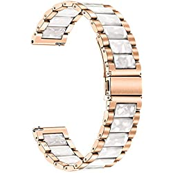 for Galaxy Watch 42mm/Active 40mm Women Bands, TRUMiRR 20mm Stainless Steel & Resin Watchband Quick Release Strap Rose Gold Bracelet for Samsung Gear S2 Classic, Garmin Vivoactive 3