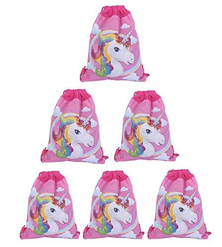 巾着バッグパーティーFavors for Kidsユニコーンデザインバックパックリュックサックショルダーバッグジムバッグ、Arts & Craftsアクティビティ6パック漫画、動物) 13.8