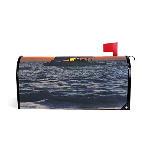 LEISOSO Mailbox Wrap Letter Post Box Cover Decor with Sailboat Gulf of Mexico,Standard Size