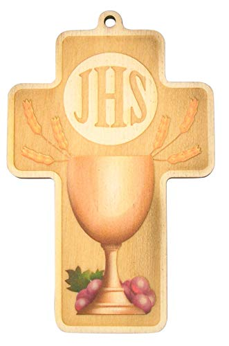 Ihs Cross - IHS Chalice First Communion Cross with Certificate, 5 Inch