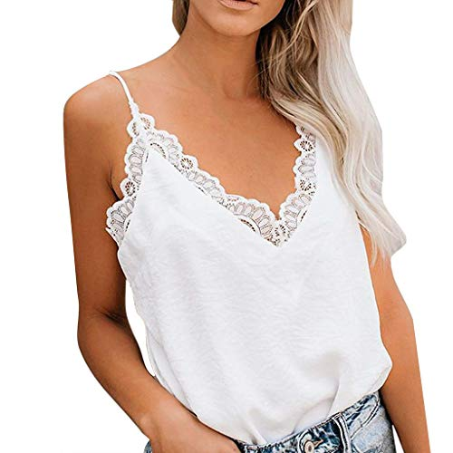 (QueenMM Deep V-Neck Lace Tank Tops Solid Soft Backless Spaghetti Straps Casual Tops White)