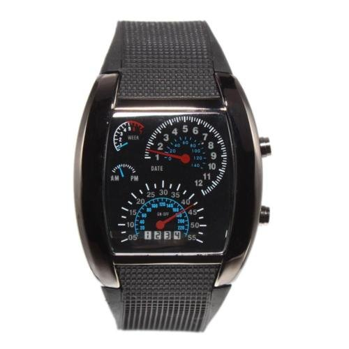 New Sports RPM Turbo Blue Flash LED Car Speedometer Meter Dial Men Gift Watch US