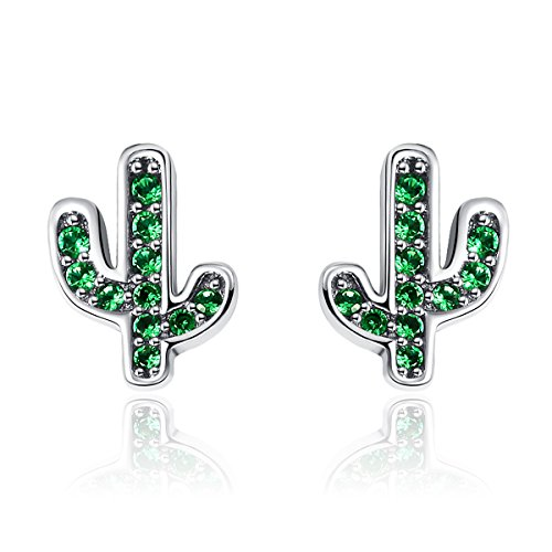 BAMOER New Arrival Green Cactus Studs Earrings 925 Sterling Silver for Women Colorful Earrings Perfect Thanksgiving Day Gifts