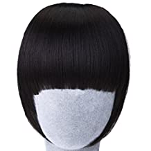 Elisona-Girls False Straight Front Neat Fringe Hair Bang Hairpiece Full Bangs Hairpieces with Temples Clip Black