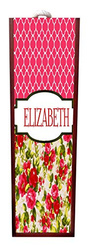 Lea Elliot Floral and Lattice Print Wine Box Personalized - Wine Box Rosewood with Slide Top - Wine Box Holder - Wine Case Decoration - Wine Case Wood - Wine Box Carrier