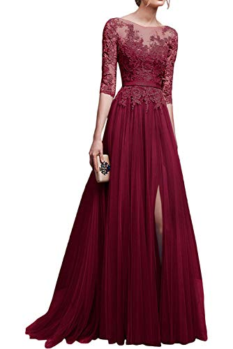 MisShow Women's A-line Prom Dress 2019 Long Embroidery Evening Gown