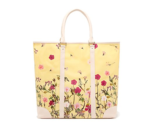 Floral Print Beach Bag - Flowertree Women's Waterproof PVC Structured Floral Print Large Tote Beach Bag (yellow)