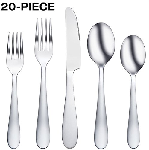 20-Piece Flatware Silverware Set Stainless Steel Cutlery Mirror Polished Utensil Tableware Sets Include Knife Fork Spoon for Kitchen Service for 4 Deluxe Cutlery Set